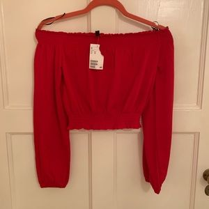 H&M red off the shoulder NWT long sleeve top